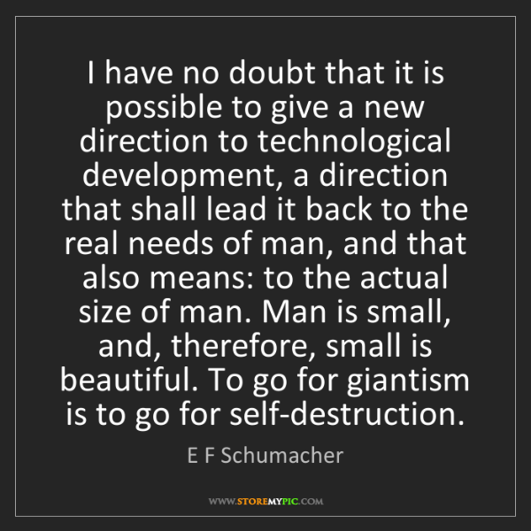 E F Schumacher: I have no doubt that it is possible to give a new direction...