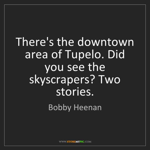 Bobby Heenan: There's the downtown area of Tupelo. Did you see the...