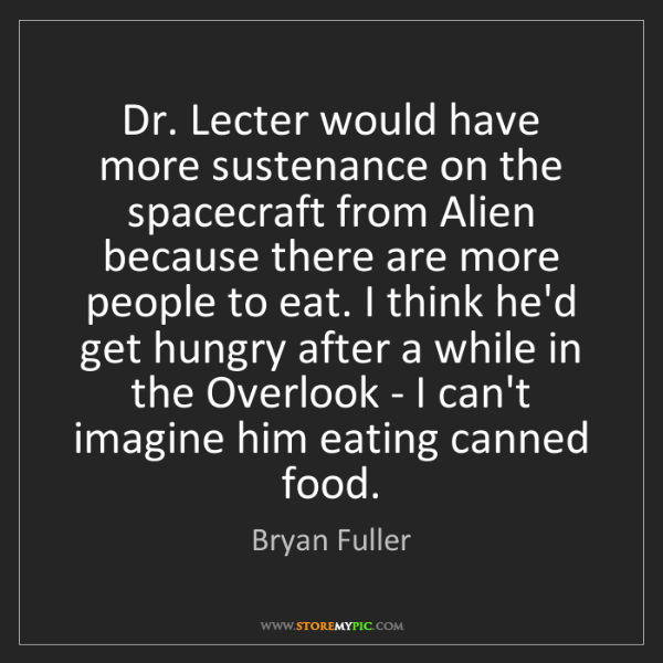 Bryan Fuller: Dr. Lecter would have more sustenance on the spacecraft...