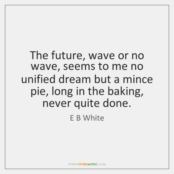 The future, wave or no wave, seems to me no unified dream ...