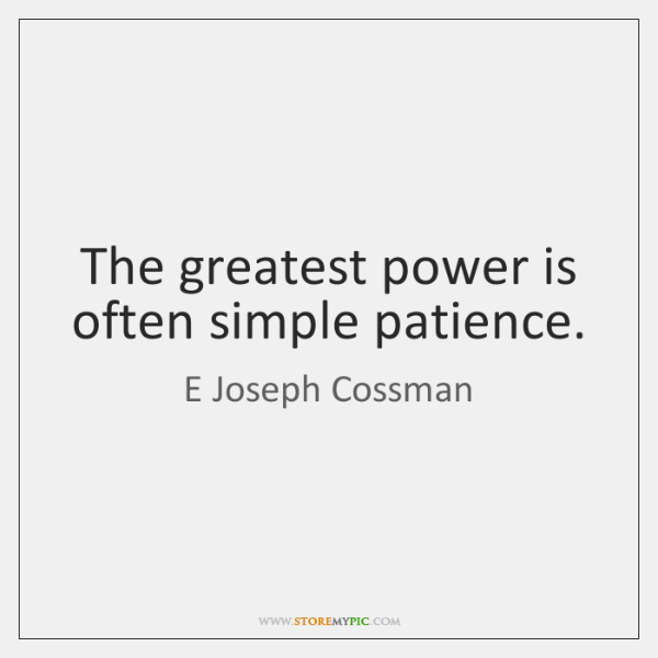 The greatest power is often simple patience.