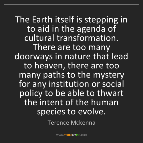 Terence Mckenna: The Earth itself is stepping in to aid in the agenda...