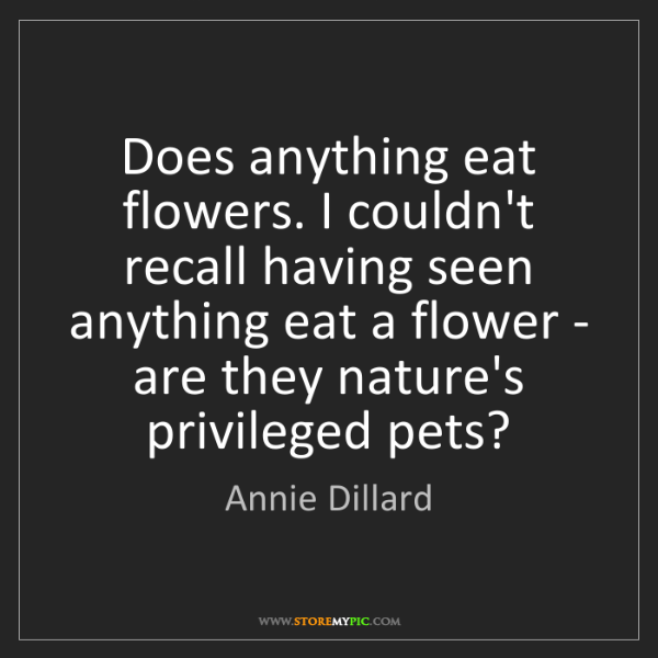 Annie Dillard: Does anything eat flowers. I couldn't recall having seen...