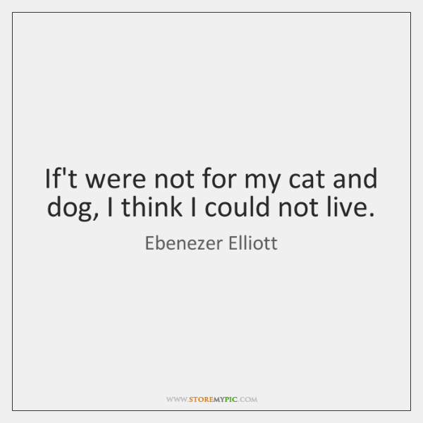 If't were not for my cat and dog, I think I could ...