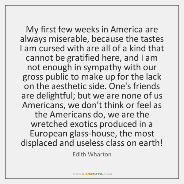 My first few weeks in America are always miserable, because the tastes ...
