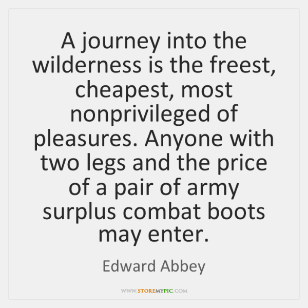 A journey into the wilderness is the freest, cheapest, most nonprivileged of ...