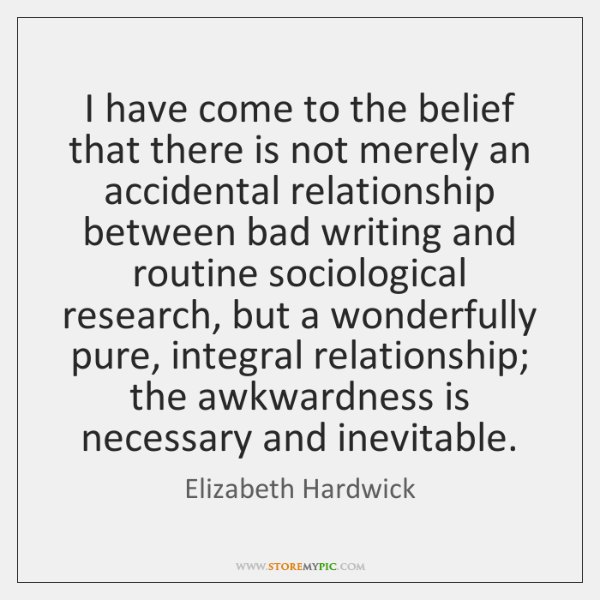 I have come to the belief that there is not merely an ...