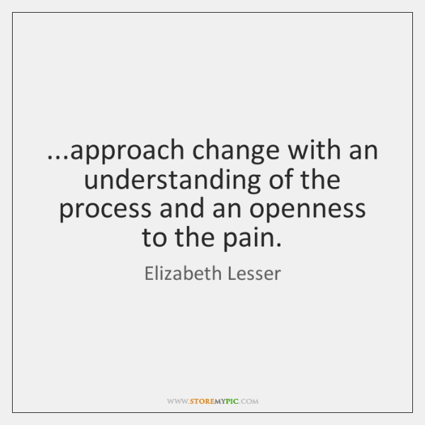 ...approach change with an understanding of the process and an openness to ...