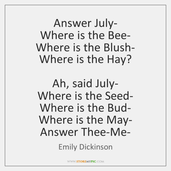 Answer July-  Where is the Bee-  Where is the Blush-  Where is ...