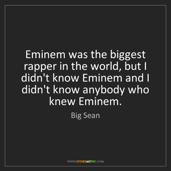 Big Sean: Eminem was the biggest rapper in the world, but I didn't...