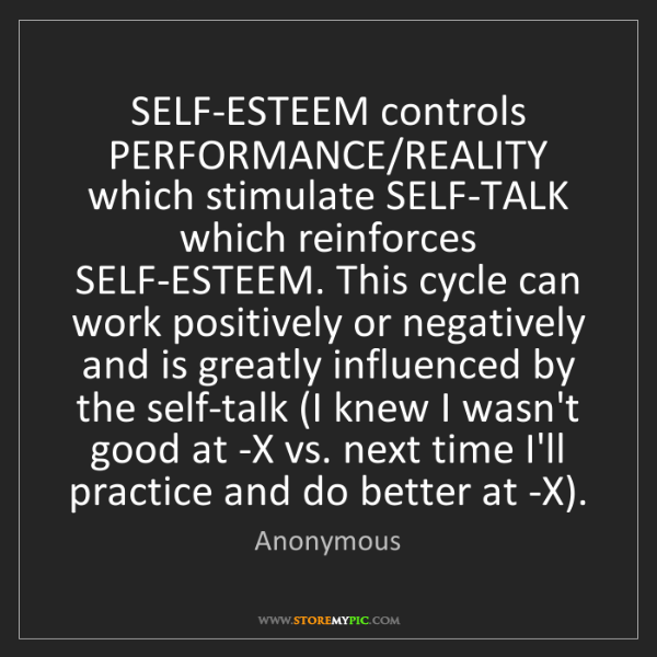 Anonymous: SELF-ESTEEM controls PERFORMANCE/REALITY which stimulate...