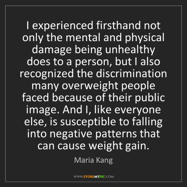 Maria Kang: I experienced firsthand not only the mental and physical...