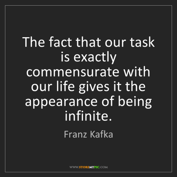Franz Kafka: The fact that our task is exactly commensurate with our...