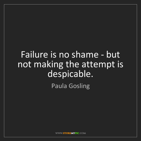 Paula Gosling: Failure is no shame - but not making the attempt is despicable.