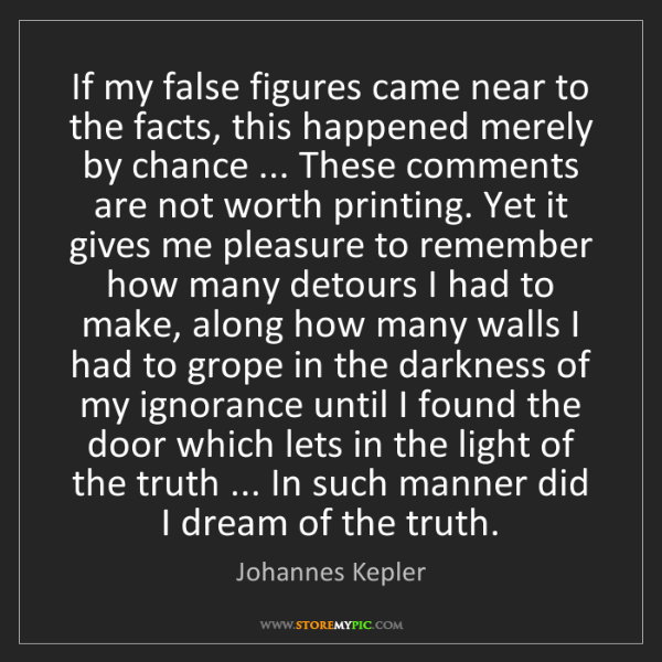 Johannes Kepler: If my false figures came near to the facts, this happened...