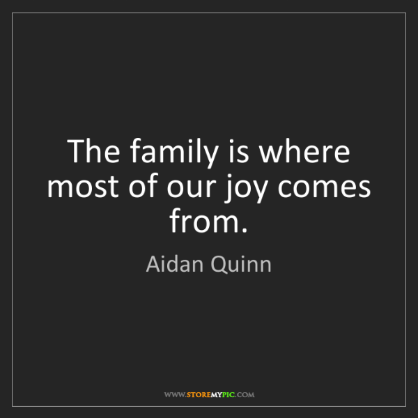 Aidan Quinn: The family is where most of our joy comes from.