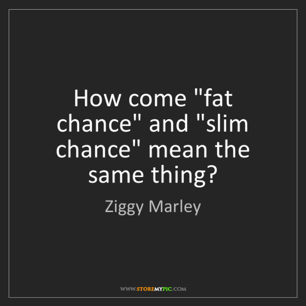 "Ziggy Marley: How come ""fat chance"" and ""slim chance"" mean the same..."