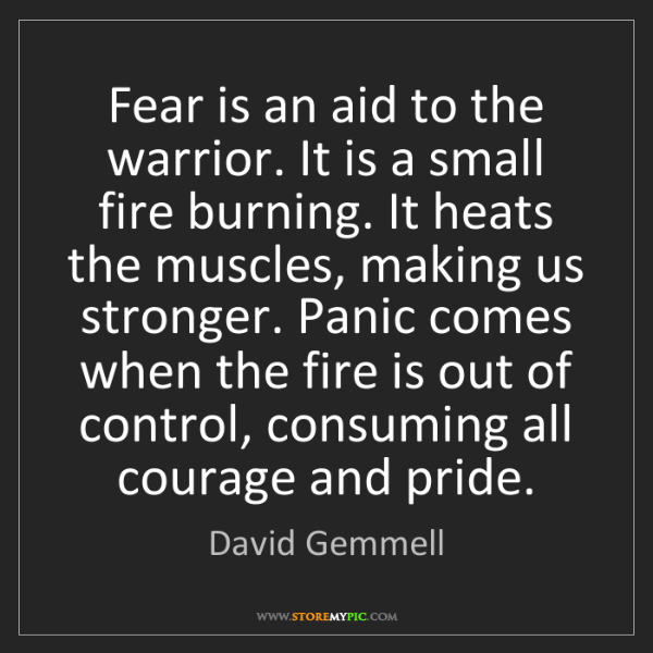 David Gemmell: Fear is an aid to the warrior. It is a small fire burning....