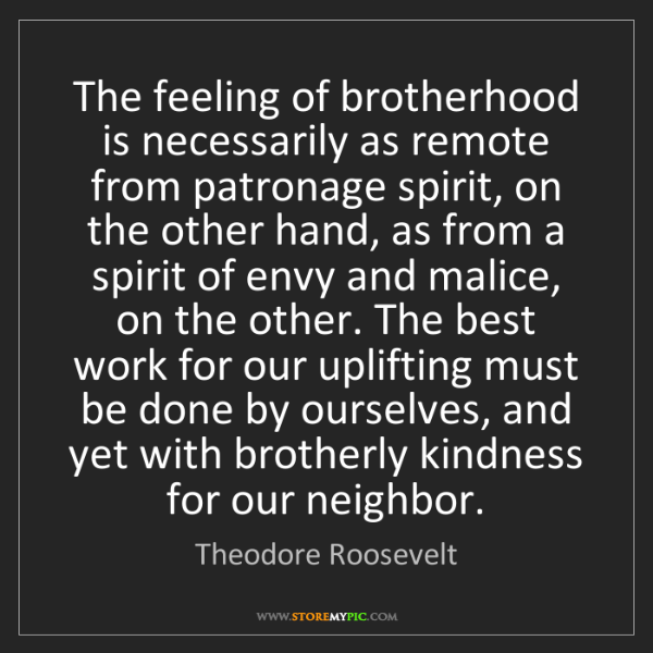 Theodore Roosevelt: The feeling of brotherhood is necessarily as remote from...