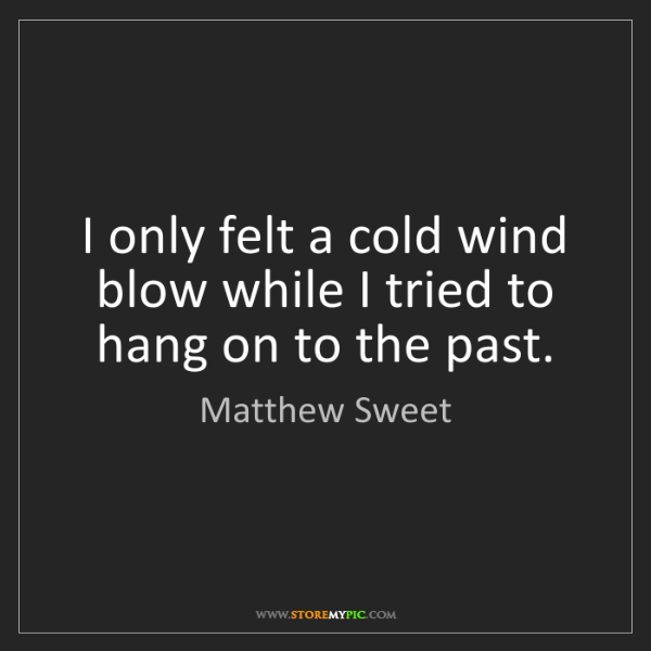 Matthew Sweet: I only felt a cold wind blow while I tried to hang on...