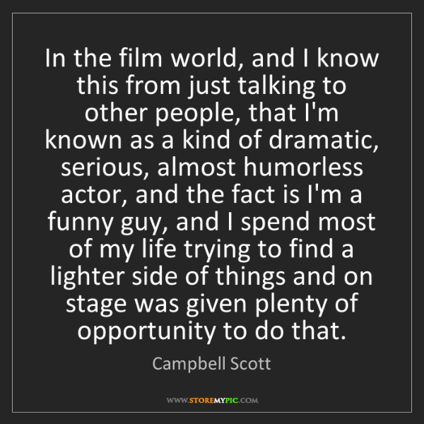 Campbell Scott: In the film world, and I know this from just talking...