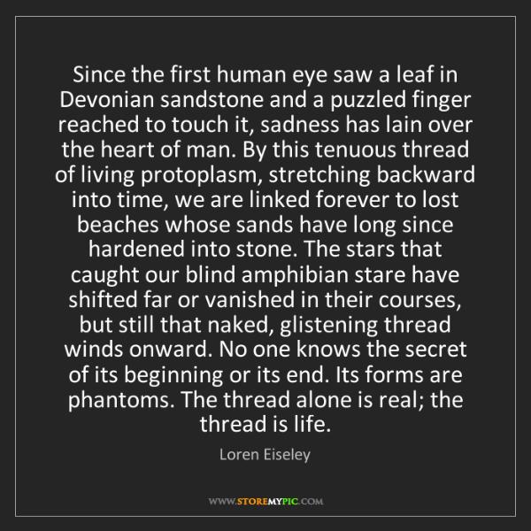 Loren Eiseley: Since the first human eye saw a leaf in Devonian sandstone...