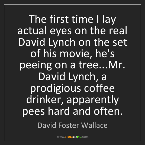 David Foster Wallace: The first time I lay actual eyes on the real David Lynch...