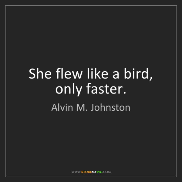 Alvin M. Johnston: She flew like a bird, only faster.