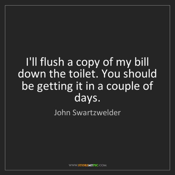 John Swartzwelder: I'll flush a copy of my bill down the toilet. You should...