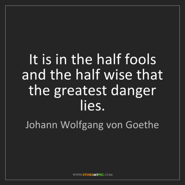 Johann Wolfgang von Goethe: It is in the half fools and the half wise that the greatest...