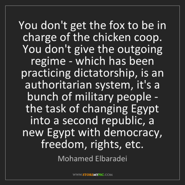 Mohamed Elbaradei: You don't get the fox to be in charge of the chicken...