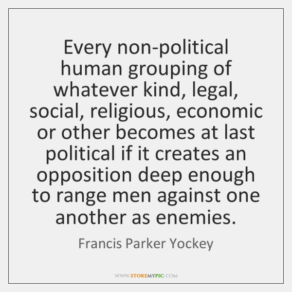 Every non-political human grouping of whatever kind, legal, social, religious, economic or ...