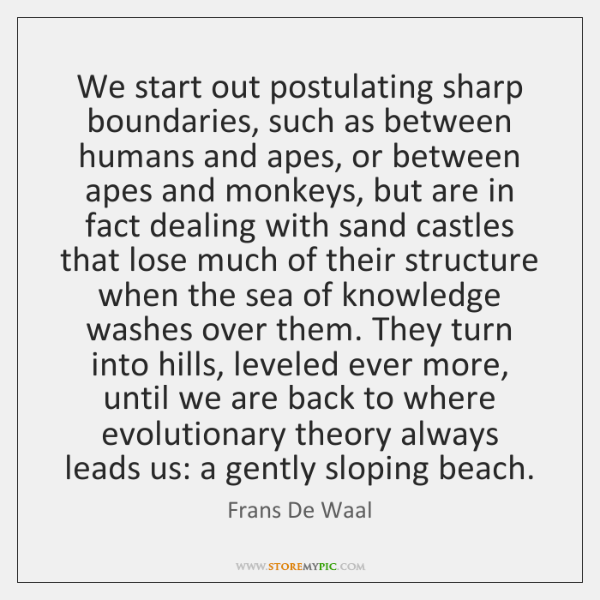 We start out postulating sharp boundaries, such as between humans and apes, ...