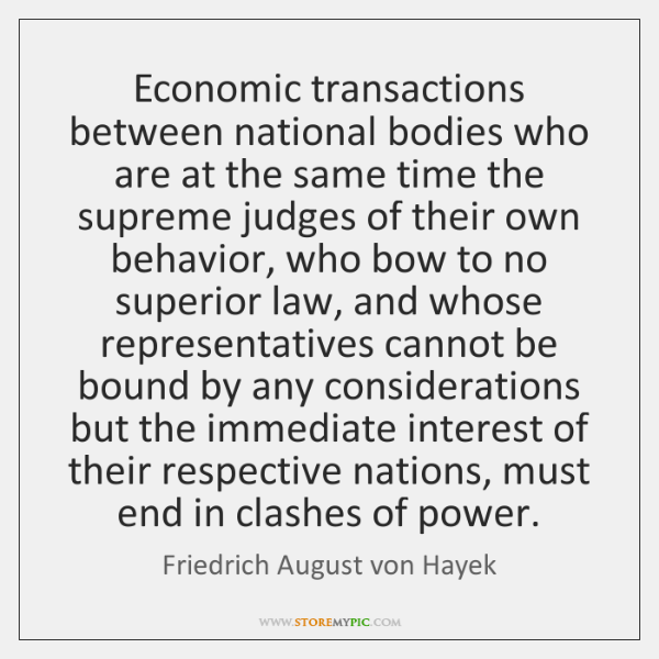 Economic transactions between national bodies who are at the same time the ...