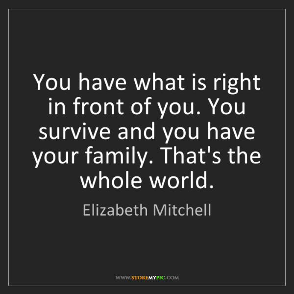 Elizabeth Mitchell: You have what is right in front of you. You survive and...