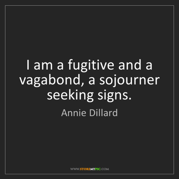 Annie Dillard: I am a fugitive and a vagabond, a sojourner seeking signs.