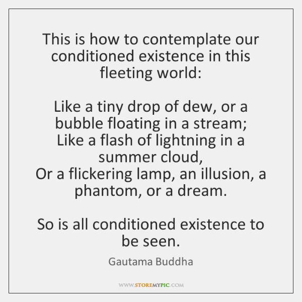 This is how to contemplate our conditioned existence in this fleeting world:     ...
