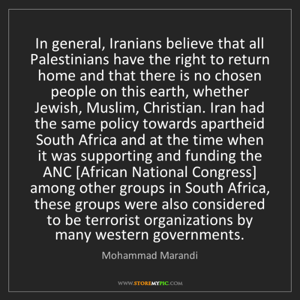 Mohammad Marandi: In general, Iranians believe that all Palestinians have...