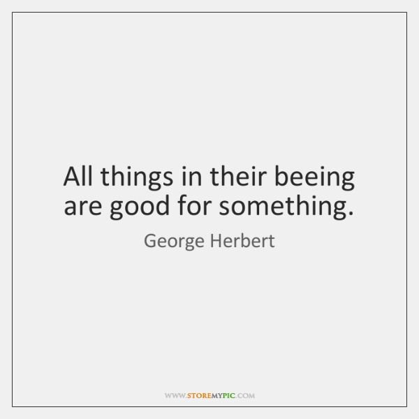 All things in their beeing are good for something.