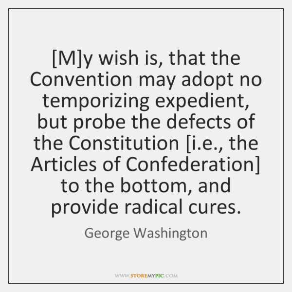 [M]y wish is, that the Convention may adopt no temporizing expedient, ...