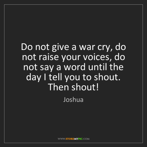 Joshua: Do not give a war cry, do not raise your voices, do not...