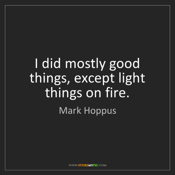 Mark Hoppus: I did mostly good things, except light things on fire.