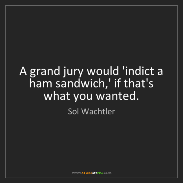 Sol Wachtler: A grand jury would 'indict a ham sandwich,' if that's...