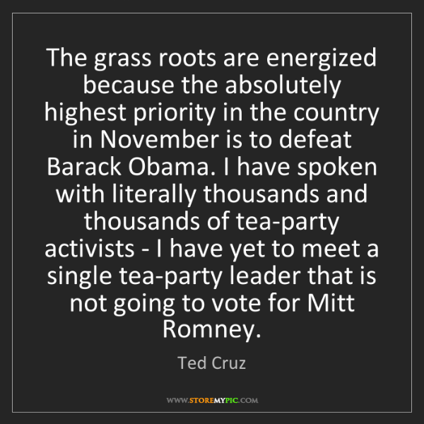 Ted Cruz: The grass roots are energized because the absolutely...