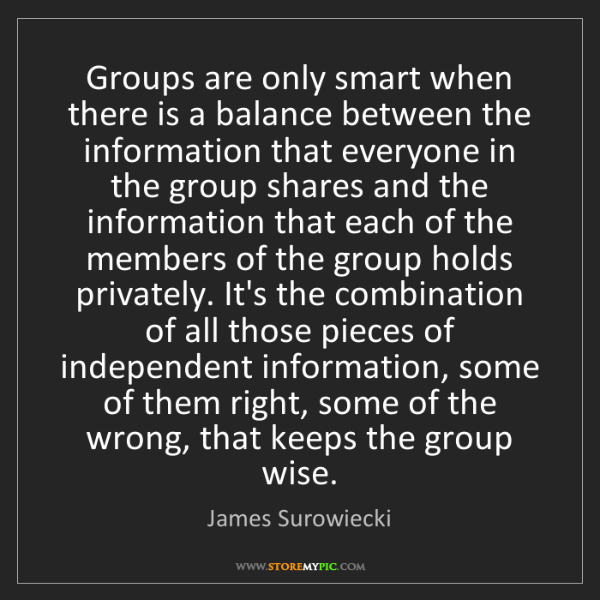James Surowiecki: Groups are only smart when there is a balance between...
