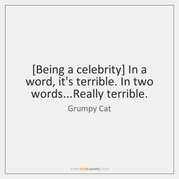 [Being a celebrity] In a word, it's terrible. In two words...Really ...