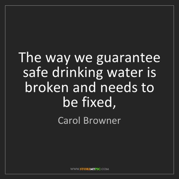Carol Browner: The way we guarantee safe drinking water is broken and...