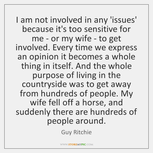 I am not involved in any 'issues' because it's too sensitive for ...