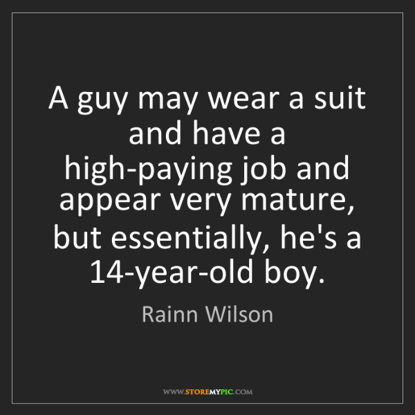 Rainn Wilson: A guy may wear a suit and have a high-paying job and...
