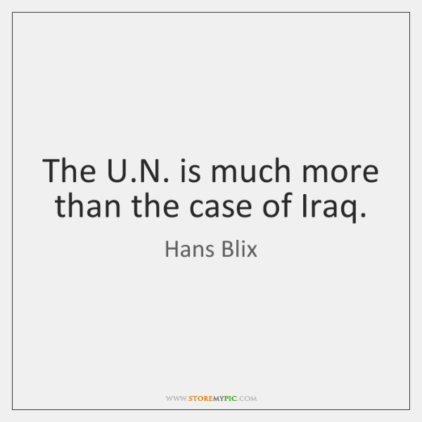 The U.N. is much more than the case of Iraq.